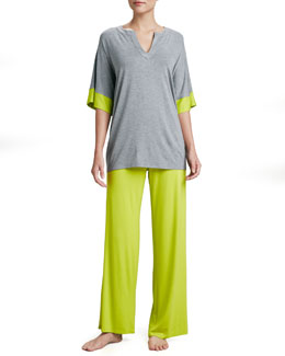 Natori Esen Wide-Leg Jersey Pants, Lime