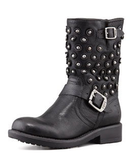 Frye Jenna Disc Short Motorcycle Boot, Black