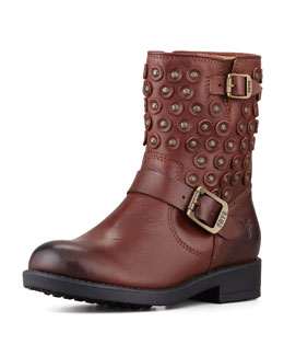 Frye Jenna Girls' Disc Short Motorcycle Boot, Brown