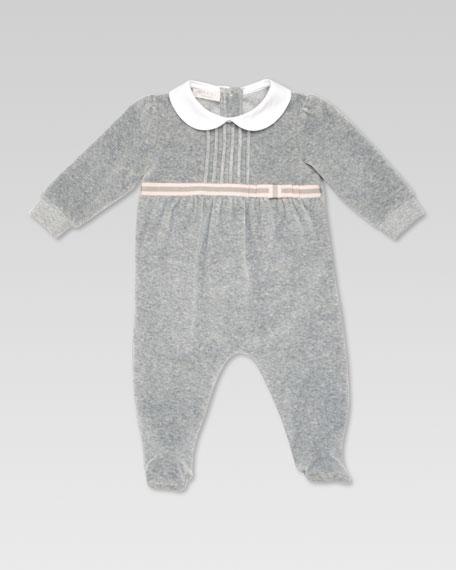 Poplin Collar Sleepsuit, Gray
