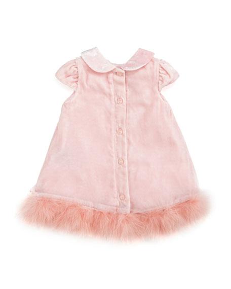 Velvet Dress with Marabou Hem, Pink, 3-9 Months