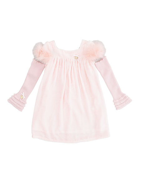 Velvet Dress with Marabou Trim, Pink, Sizes 4-6