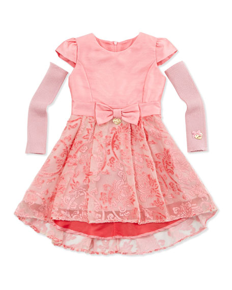 Flocked Velvet Combo Dress with Arm-Warmers, Pink, Sizes 4-8