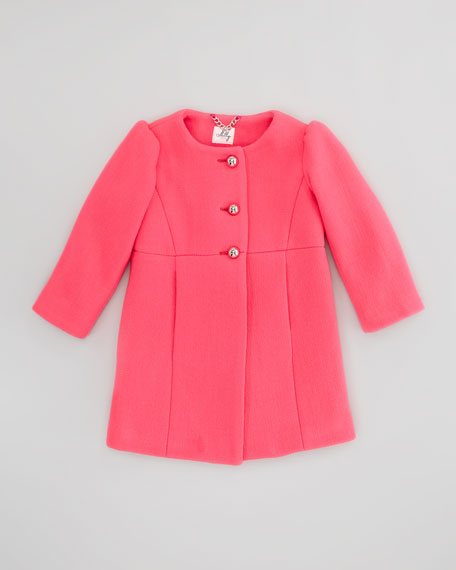 Tweed Puff-Sleeve Coat, Coral, Sizes 8-10