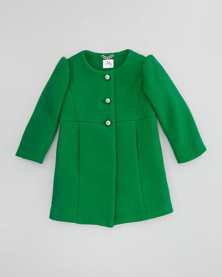Tweed Puff-Sleeve Coat, Emerald, Sizes 8-10