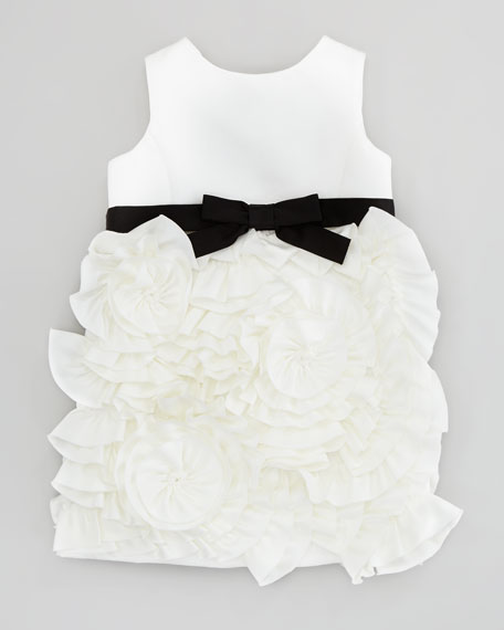 Rosette Satin Party Dress, White, Sizes 2-6