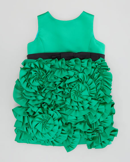 Rosette Satin Party Dress, Emerald, Sizes 2-6