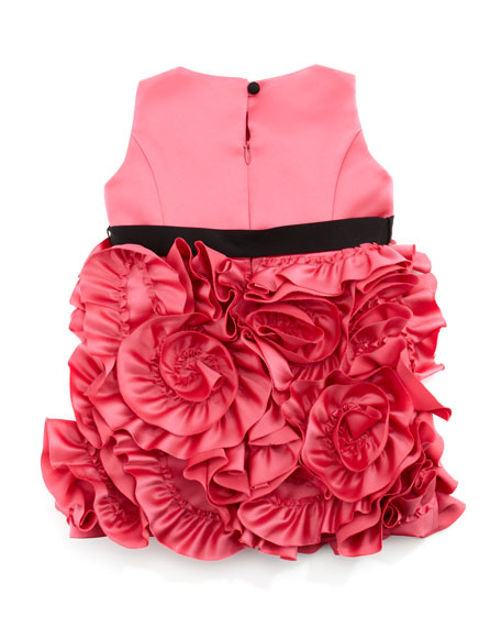 Rosette Satin Party Dress, Pink, Sizes 2-6