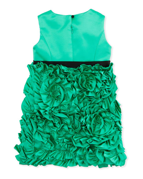 Rosette Satin Party Dress, Green, Sizes 8-10