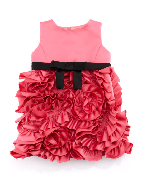 Rosette Satin Party Dress, Pink, Sizes 8-10