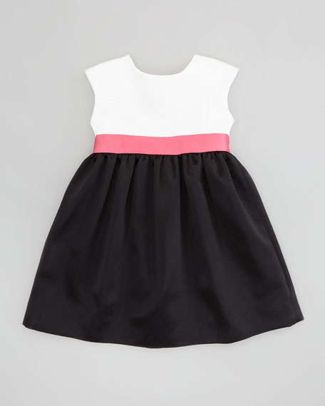 Colorblock Satin Party Dress, White/Pink/Black, Sizes 8-10