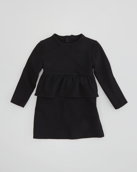 Long-Sleeve Peplum Dress, Black, Sizes 8-10