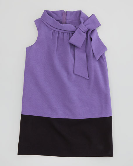 Bow-Neck Combo Ponte Dress, 8-10