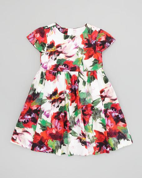Bouquet Floral Cap Sleeve Dress, White/Multi, Sizes 8-10