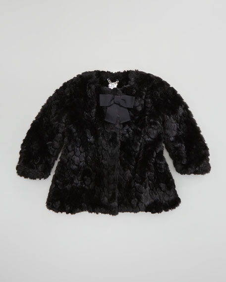 Cropped Faux-Fur Coat, Black, Sizes 8-10