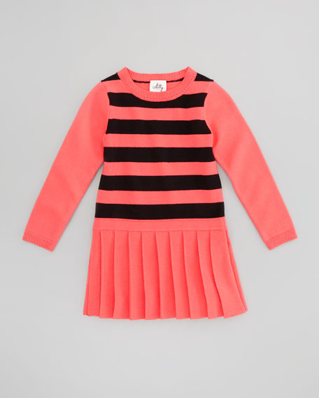 Striped Knit Sweaterdress, Fluorescent Melon/Black, Sizes 8-10