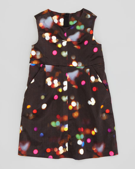 City Lights Print Sleeveless Dress, Sizes 8-10
