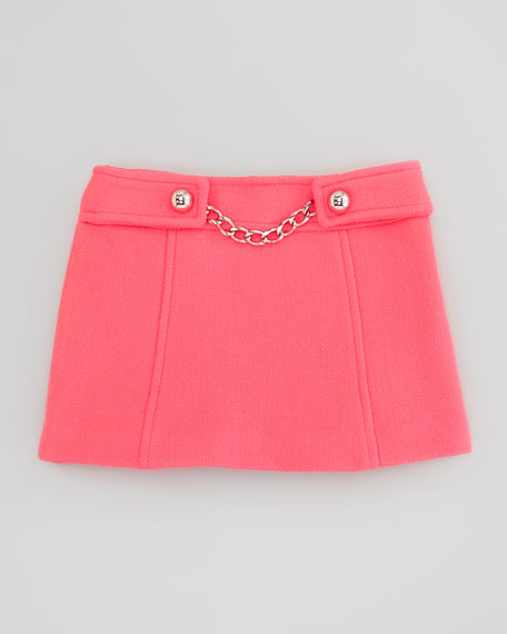 Chain-Front Tweed Skirt, Coral, Sizes 2-6
