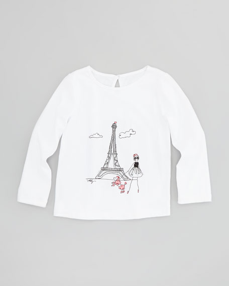 Eiffel-Tower Graphic Long-Sleeve Tee, Sizes 8-10