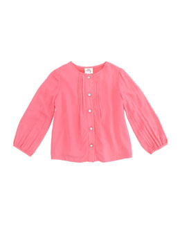 Milly Minis Long-Sleeve Pintuck Blouse, Coral, Sizes 8-10