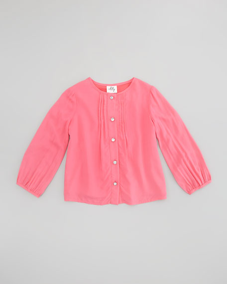 Long-Sleeve Pintuck Blouse, Coral, Sizes 2-6