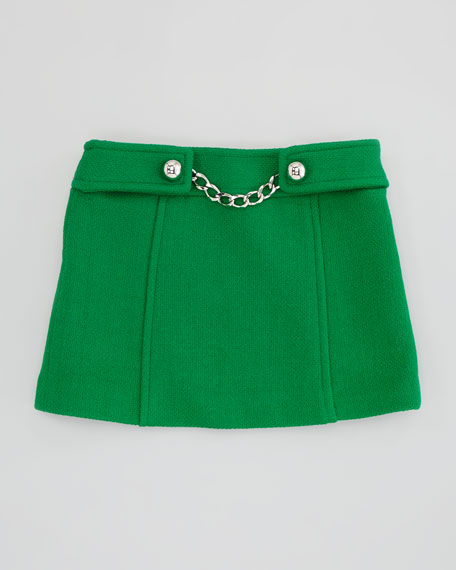 Chain-Front Tweed Skirt, Emerald, Sizes 8-10