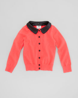 Milly Minis Removable Faux-Leather Collar Cardigan, Melon, Sizes 2-7