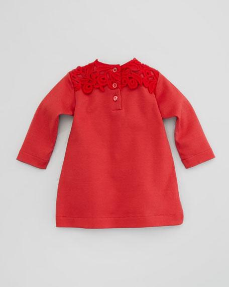 Long-Sleeve Macrame Shirt Dress, Bordeaux, 3-18 Months