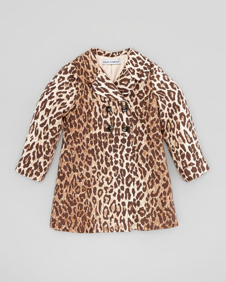Leopard-Print Jacquard Coat, Sizes 8-10