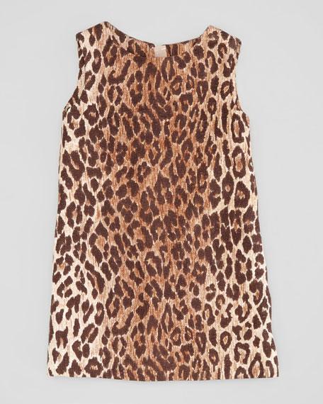 Leopard-Print Jacquard Shift Dress, Sizes 2-6
