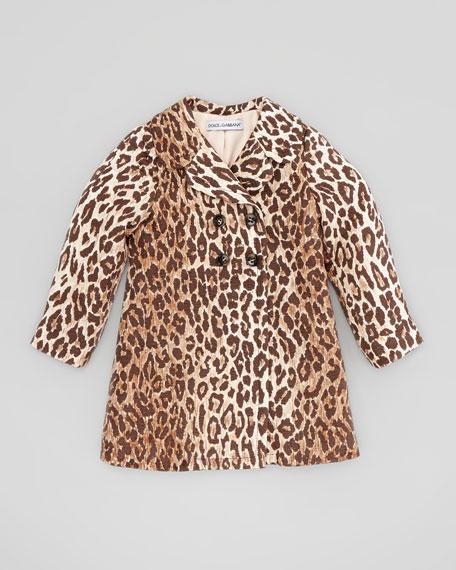 Leopard-Print Jacquard Coat, Sizes 2-6
