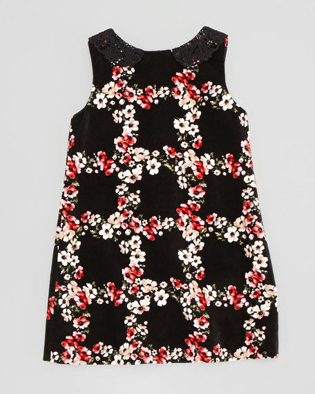 Sleeveless Floral-Print Velvet Dress, Size 8-10