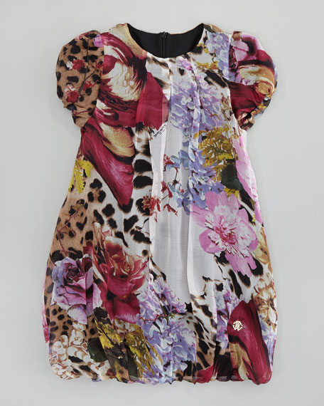 Floral-Print Puff-Sleeve Bubble-Hem Dress