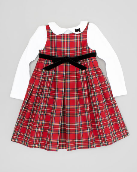 Tartan Plaid Bow Dress, Red/Black , Sizes 4-6X