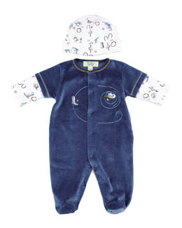 Kissy Kissy QT Wild West Velour Short-Sleeve Footie, White/Blue