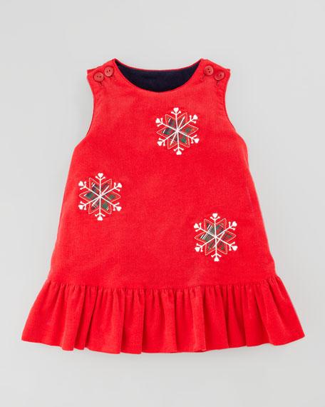 Snowflake/Apples Reversible Corduroy Dress, 12-24 Months