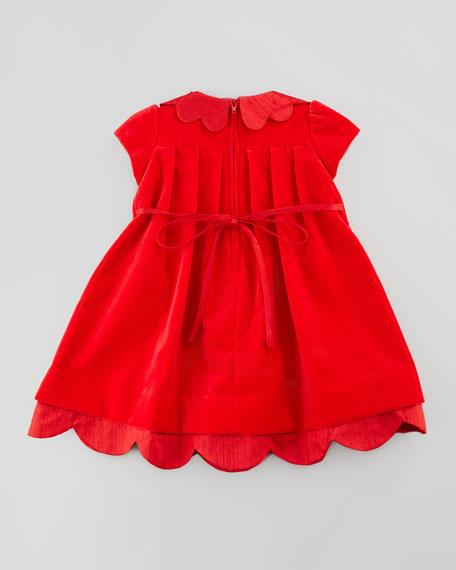 Shantung Scallop-Trim Velvet Dress, 12-24 Months