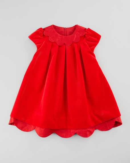 Shantung Scallop-Trim Velvet Dress, 12-24 Months
