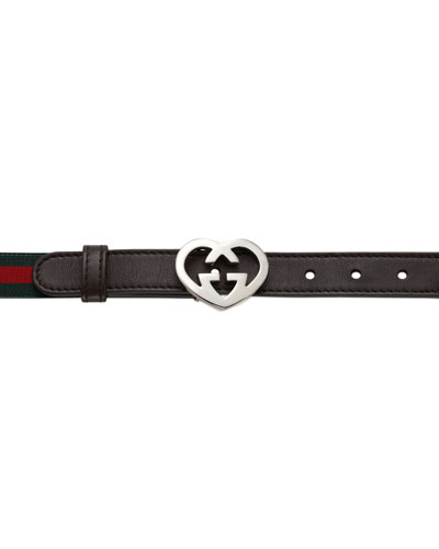 Gucci Leather Heart-Buckle Belt