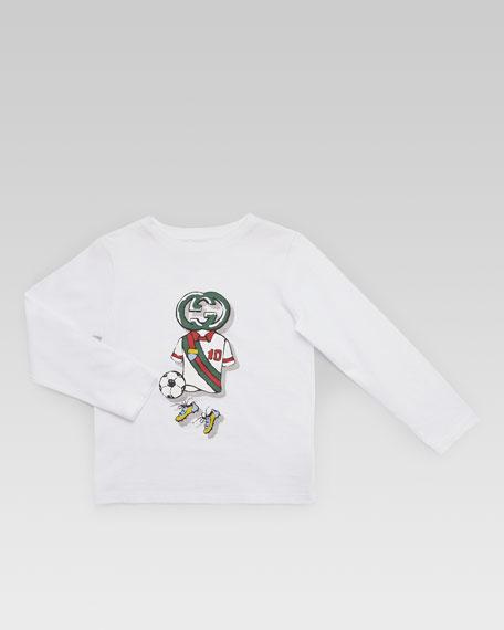 Long-Sleeve GG Soccer-Print Tee, White/Green