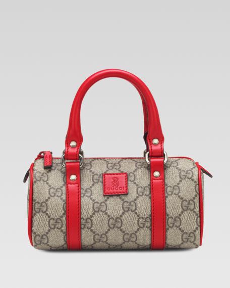 Girls' Leather-Trim GG Plus Fabric Bag, Orange