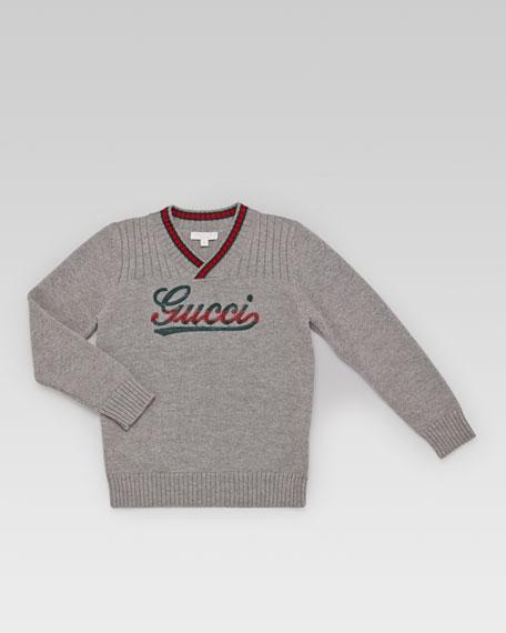 Interlocking G V-Neck Sweater, Gray