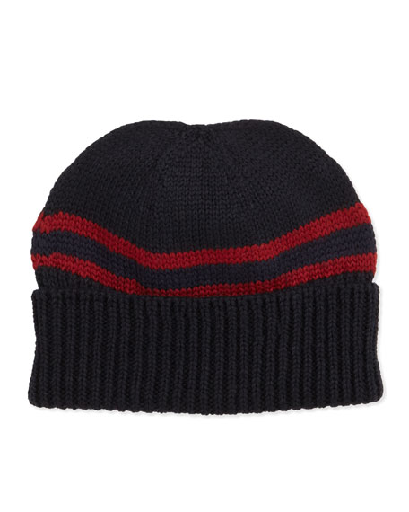 Maga Striped Wool Beanie, Midnight Blue