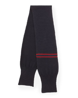 Gucci Maia Striped Wool Scarf, Midnight Blue