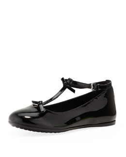Gucci Baby Beverly Patent T-Strap Shoe, Black