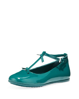Gucci Beverly Patent T-Strap Shoe, Green
