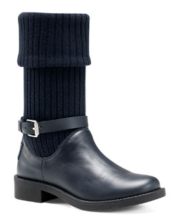Gucci Ryder Knit-Shaft Harness Boot