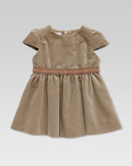 Velvet Beaded-Waist Dress