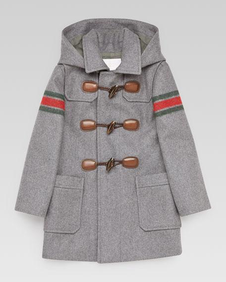Montgomery Striped-Sleeve Toggle Coat