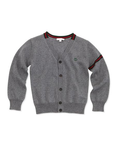 Long-Sleeve Web-Detail Cardigan, Gray
